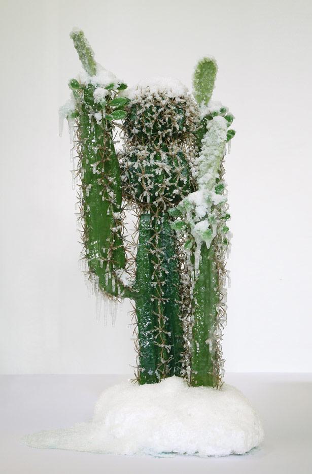 """2015 / """"Cactus"""", résines divers, bois, mousse, neige et givre artificiels, vernis, dimensions 120x50x45cm"""