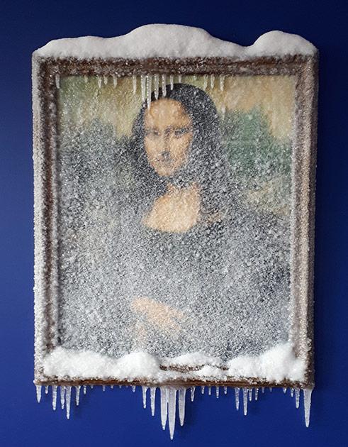 """2017 / """"Joconde"""", reproduction de la Joconde, huile, cadre bois, neige artificielle, résine, matériaux divers Commande particulière"""