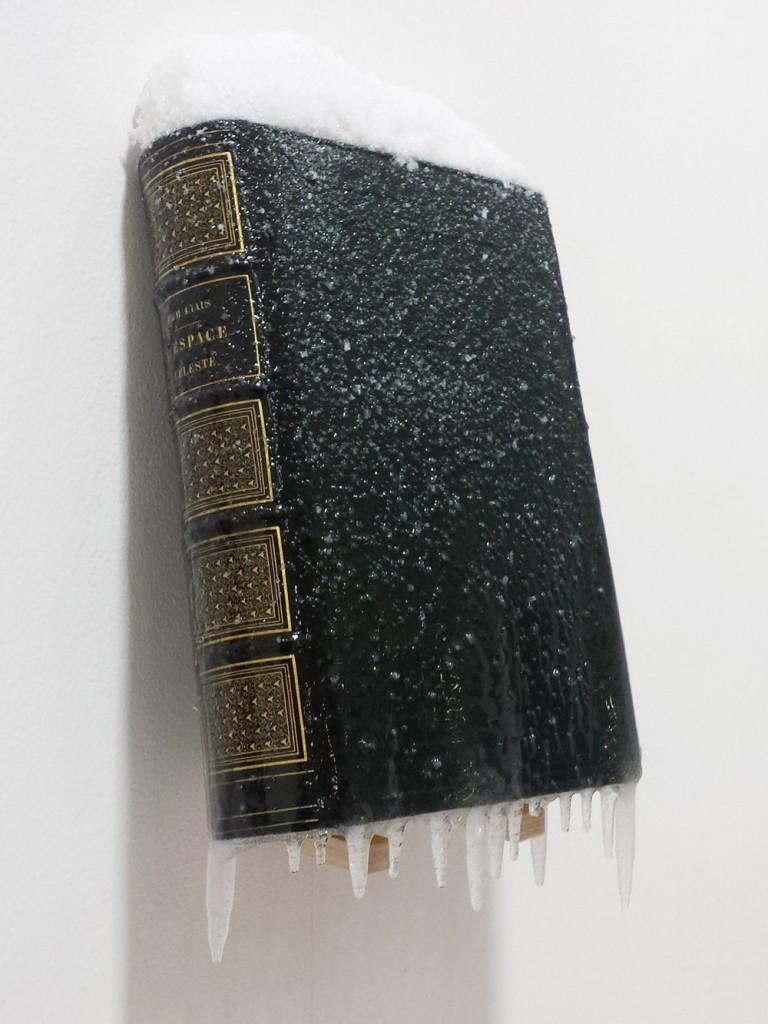 """2015 / """"L'espace céleste"""", livre ancien, résine, neige et givre artificiels, dimensions 28x8x15cm"""