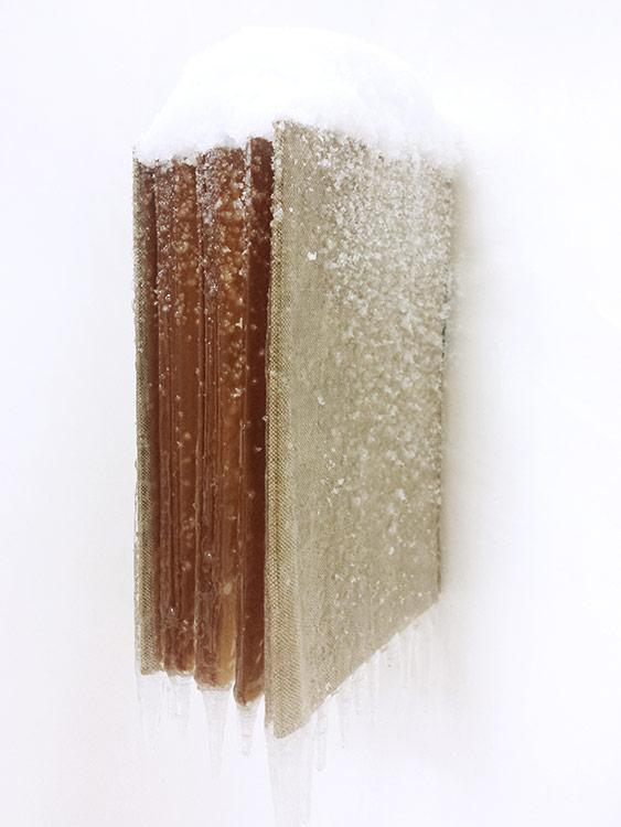 """2015 / """"Livre d'hiver"""", livre ancien, résine, neige et givre artificiels, dimensions 28x8x15cm"""